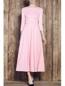 Pink Round Neck Half Sleeve Maxi Dress