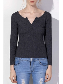 Solid Color Plunging Neck Pullover Sweater