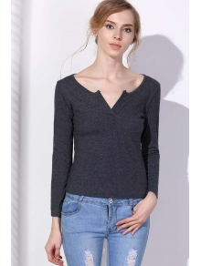 Solid Color Plunging Neck Pullover Sweater - GRAY S
