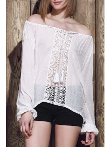 Lace Panel Tied Tassel Sheer Top - WHITE S