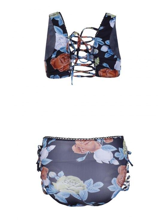 Buds Out Floral Bikini Set - BLACK L Mobile