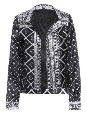 Checked Sun Print Thin Jacket - Black