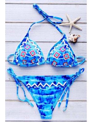 Tie Dye Embroidery Halter Bikini Set - Blue