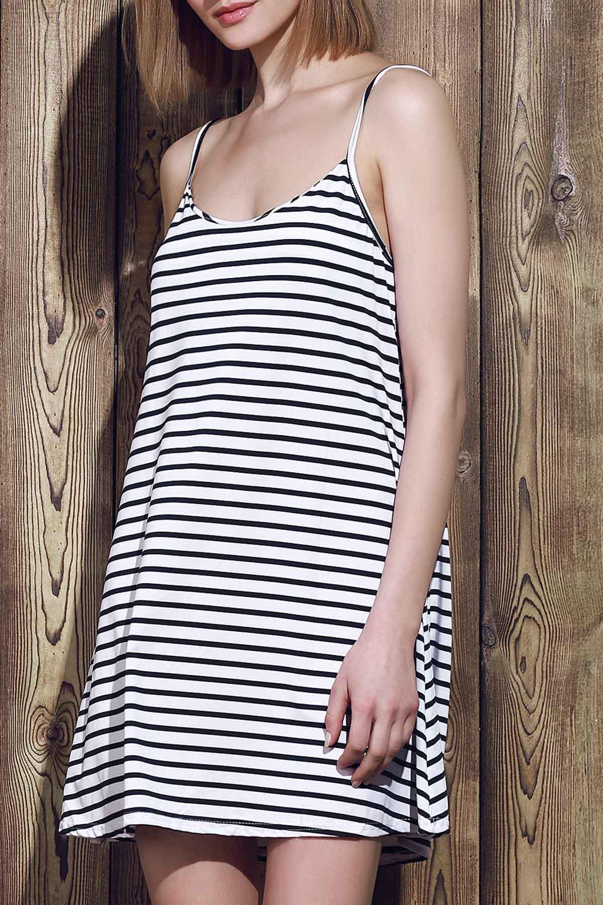 Spaghetti Strap A Line Stripe Dress - BLUE/WHITE S