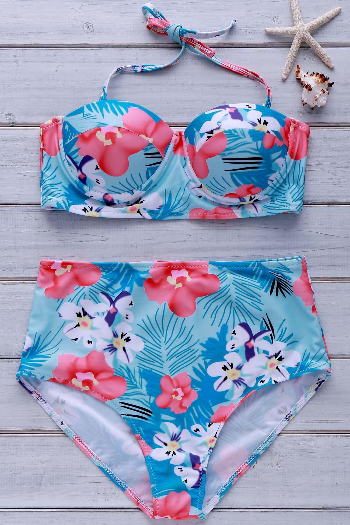 Halter Tropical Print High-Waisted Bikini Set