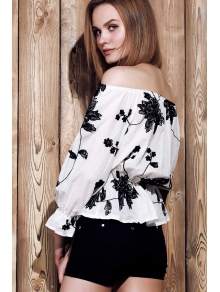 Slash Neck Black Floral Print Crop Top - WHITE S