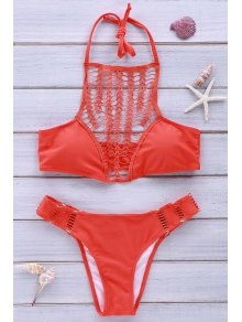 Halter Combined Lace Jacinth Bikini Set - Jacinth