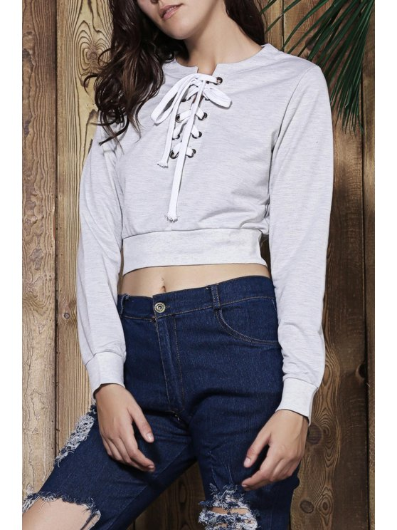 affordable Gray V Neck Long Sleeve Cropped Sweatshirt - GRAY S