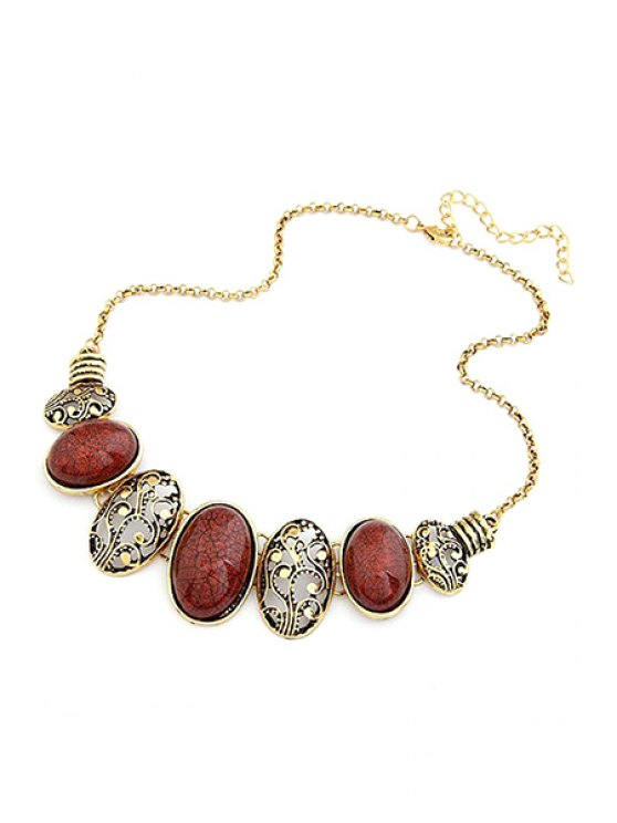 Tribal Style Faux Gem Statement Necklace - RED  Mobile