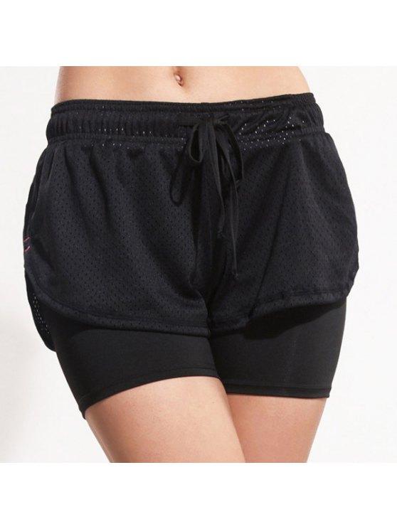 Sporty cordonnet noir Gym short pour les femmes - Noir M