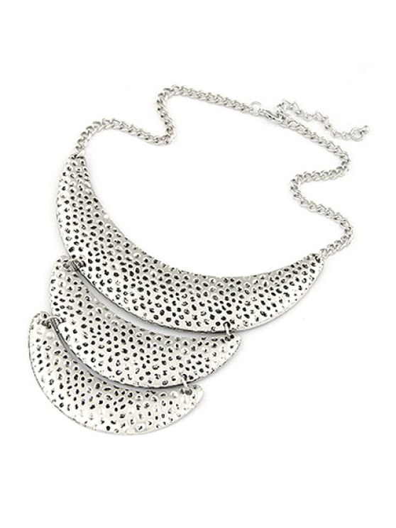 Three Layered Crescent Clavicle Necklace - SILVER  Mobile