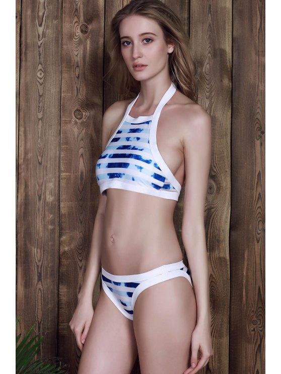 Halter Striped Bikini Set - BLUE AND WHITE S Mobile
