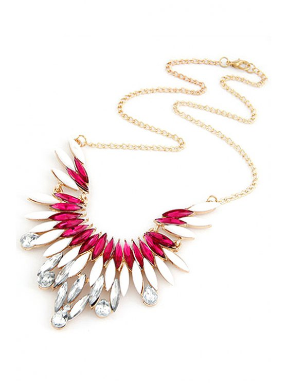 Faux Gem Feather Shape Pendant Necklace - WATER RED  Mobile
