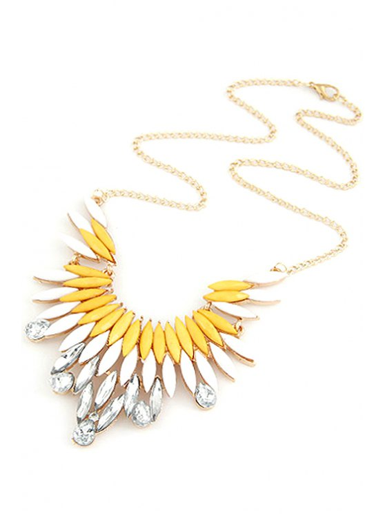 fancy Faux Gem Feather Shape Pendant Necklace - YELLOW