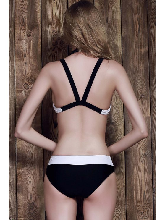 Color Block Two-Piece Swimsuit - WHITE M Mobile