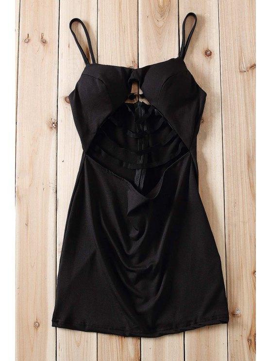 women Black Spaghetti Strap Cut Out Bodycon Dress - BLACK S