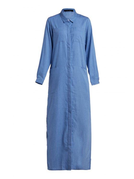 shop Denim Long Sleeve Maxi Shirt Dress - BLUE XL
