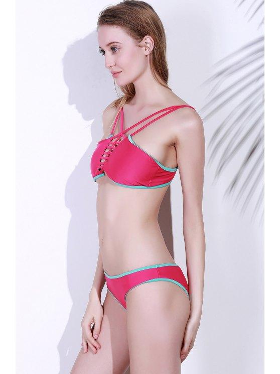 Spaghetti Strap Contrasting Piped Bikini Set - ROSE MADDER L Mobile