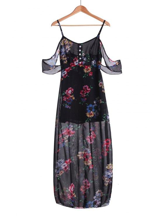 women Floral Spaghetti Strap Off The Shoulder Maxi Dress - BLACK S