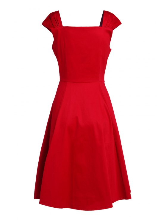 Reversible Solid Color Ball Gown Dress - RED M Mobile