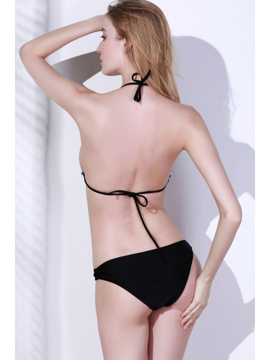 Sexy Printed Halter Bikini Set - COLORMIX M Mobile