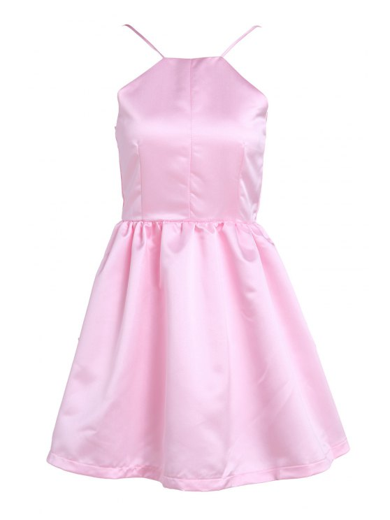 outfits Pink Spaghetti Strap Open Back Flare Dress - PINK M