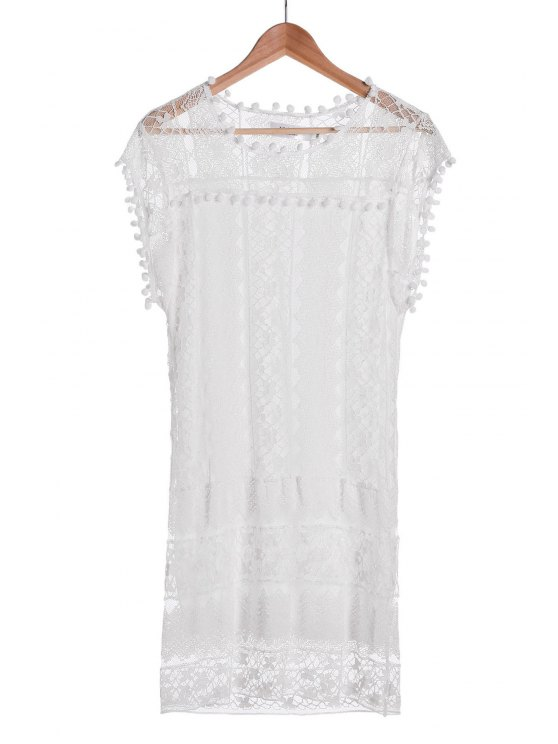 new See-Through White Lace Sleeveless Dress - WHITE XL