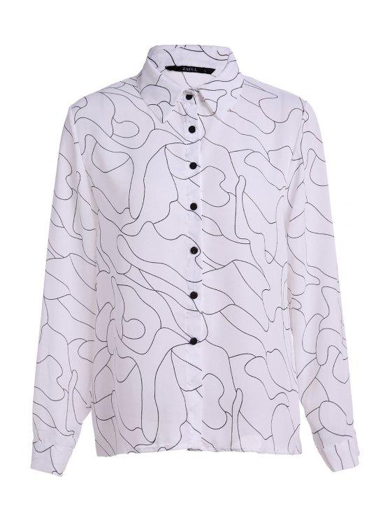 lady Polo Collar Black Stripes Print Long Sleeve Shirt - WHITE S