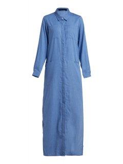 Denim Long Sleeve Maxi Shirt Dress - Blue L