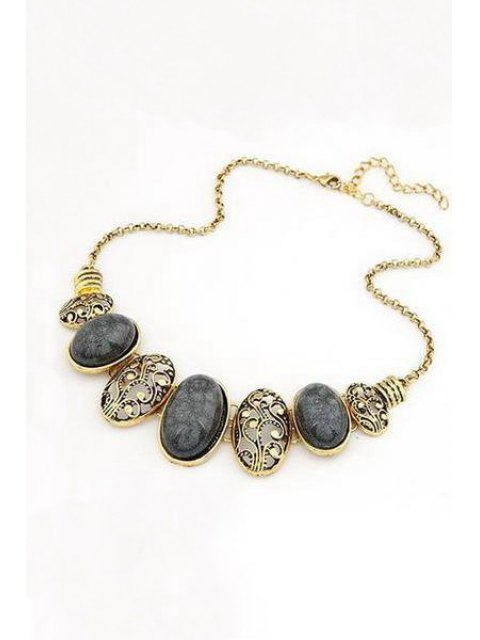 outfits Tribal Style Faux Gem Statement Necklace - BLACK  Mobile