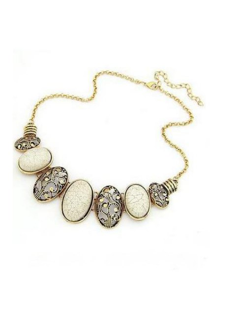 outfit Tribal Style Faux Gem Statement Necklace - WHITE  Mobile