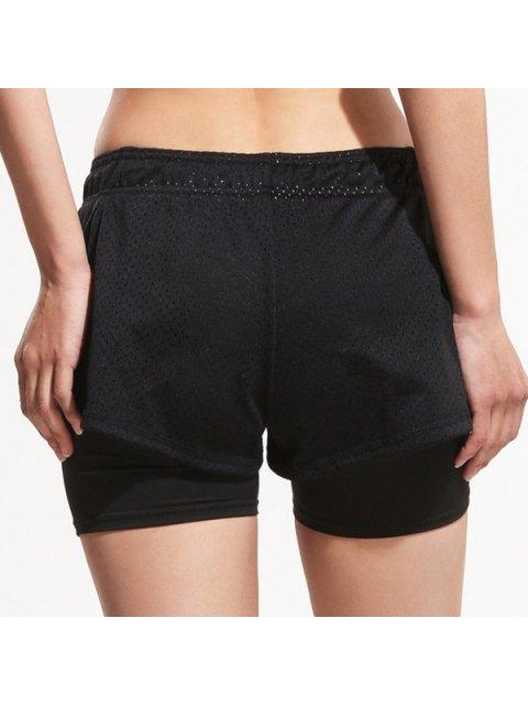 fancy Layered Yoga Sporty Shorts - BLACK M Mobile