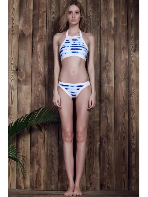 women Halter Striped Bikini Set - BLUE AND WHITE S Mobile