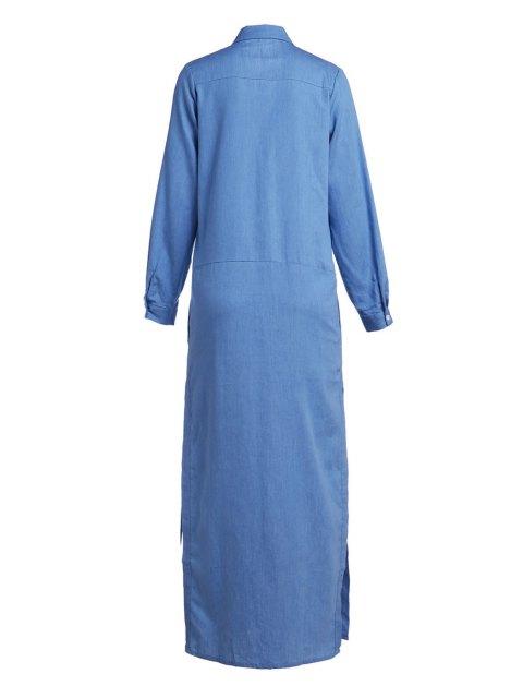 outfit Denim Long Sleeve Maxi Shirt Dress - BLUE M Mobile