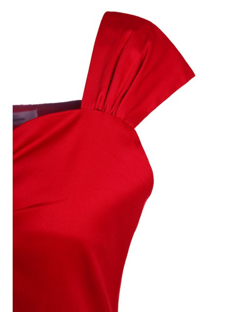 sale Reversible Solid Color Ball Gown Dress - RED M Mobile