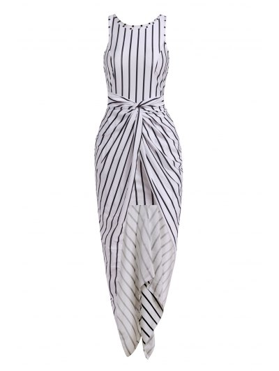 Vertical Stripes Asymmtrical Racerback Maxi Dress - WHITE AND BLACK S Mobile