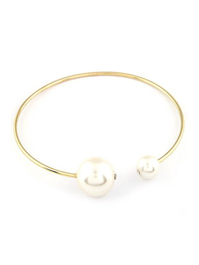 Big Faux Pearl Gold Plated Chokers Necklace - GOLDEN  Mobile
