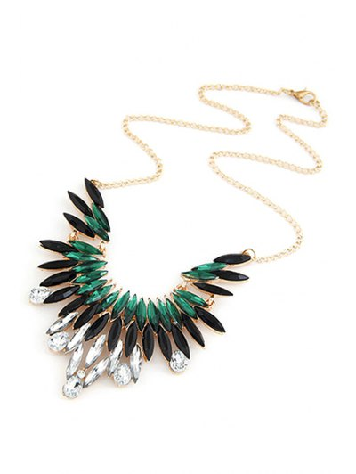 Faux Gem Feather Shape Pendant Necklace - GREEN  Mobile