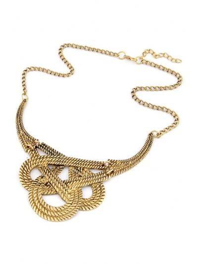 Hollow Weaving Knotted Clavicle Necklace - GOLDEN  Mobile