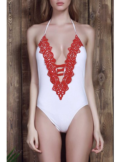 Halter White One Piece Swimwear