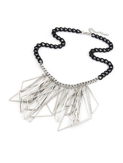 Hollow Triangles Pendant Statement Necklace - SILVER  Mobile