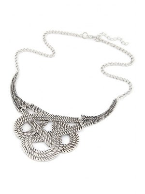 Hollow Weaving Knotted Clavicle Necklace - Silver