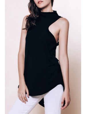 Sleeveless Racerback Black Blouse - Black