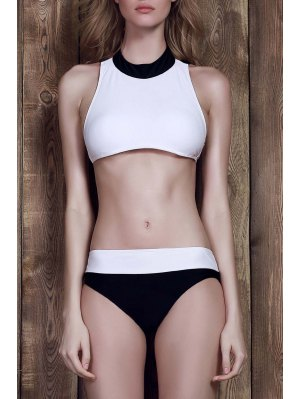 Color Block Two-Piece Swimsuit - White