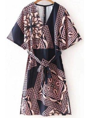 Belted Printed Plunging Neck Half Sleeve Dress - Black