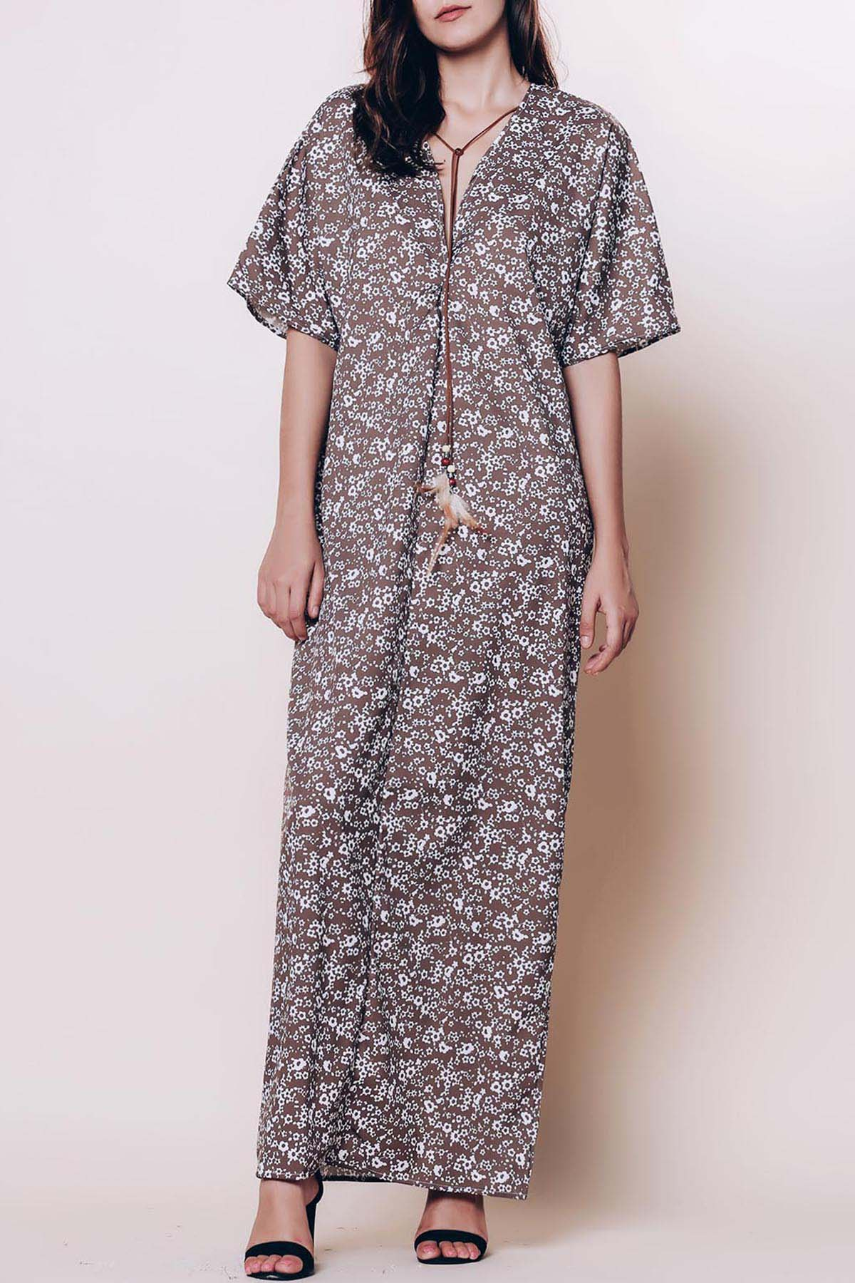 Plunging Neck 3/4 Sleeve Tiny Floral Maxi Dress