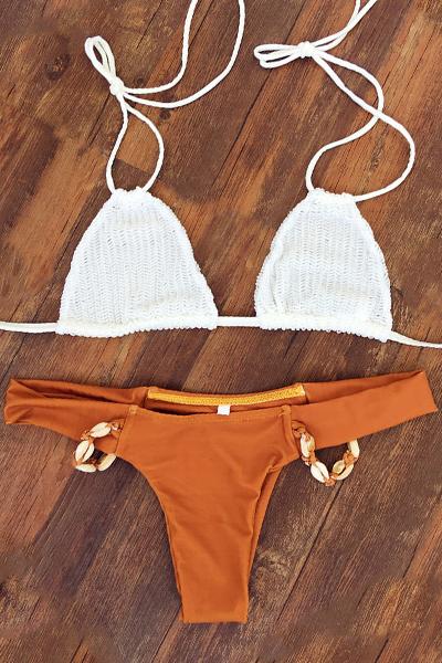 Halterneck Crochet Bikini Set
