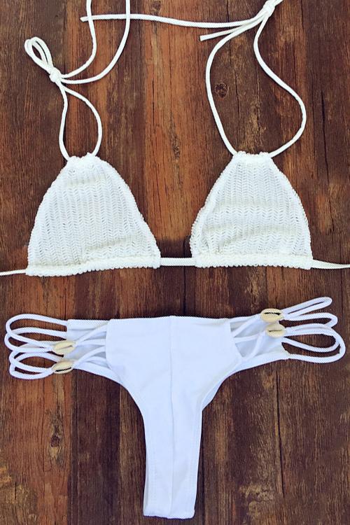 Halter Crochet White Bikini Set