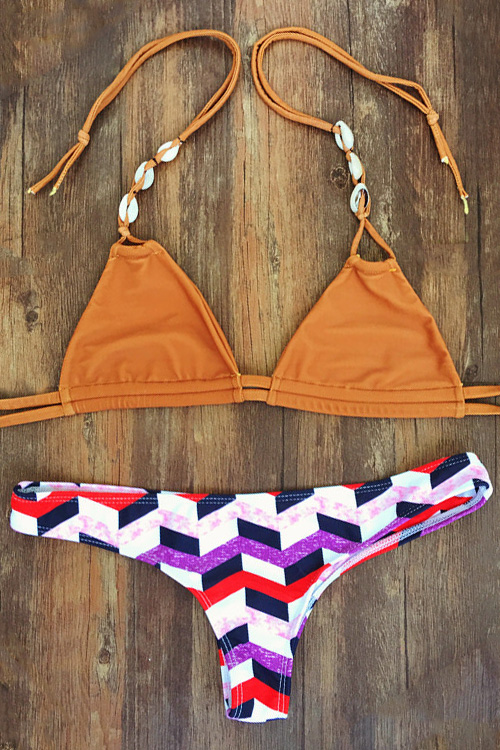 Halterneck Geometric Pattern Bikini Set
