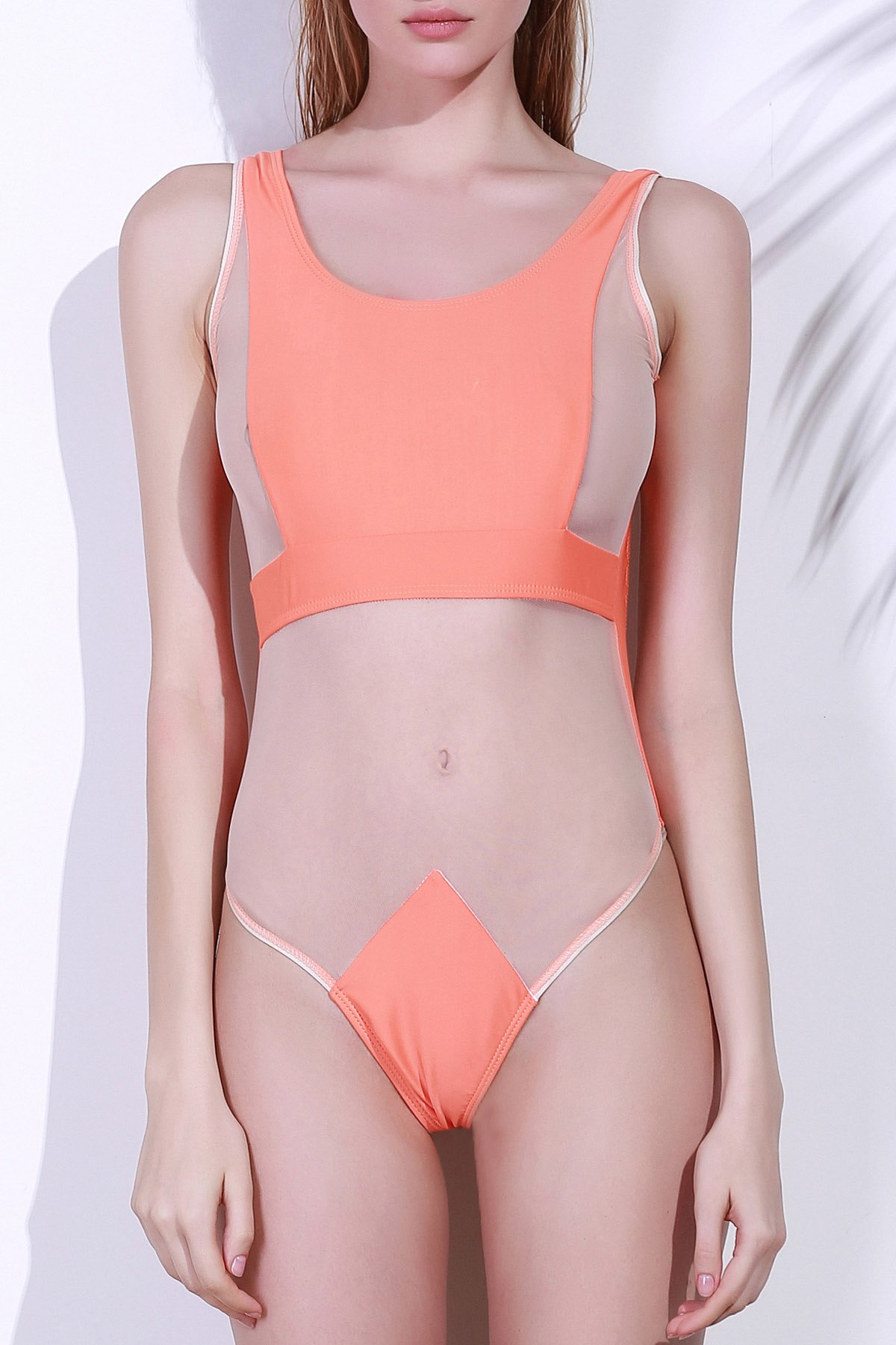 Scoop Neck Pure Color Backless One-Piece Swimwear